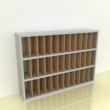 Szafka na papier 15x15cm leżąca trzy poziomy - (przestrzeni: 36)